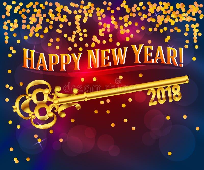 Κλειδί καρτών καλής χρονιάς 2018 διανυσματική απεικόνιση