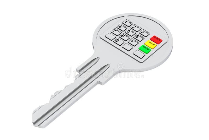 Κλειδί με το ψηφιακό αριθμητικό πληκτρολόγιο απεικόνιση αποθεμάτων