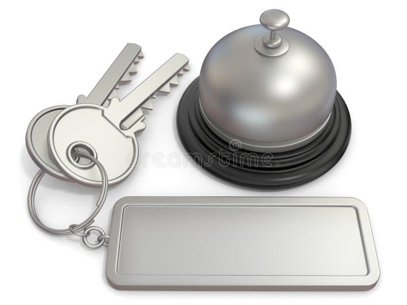 Κλειδί ξενοδοχείων με την ορθογώνια κενή ετικέτα στο κουδούνι δαχτυλιδιών και υποδοχής τρισδιάστατος διανυσματική απεικόνιση