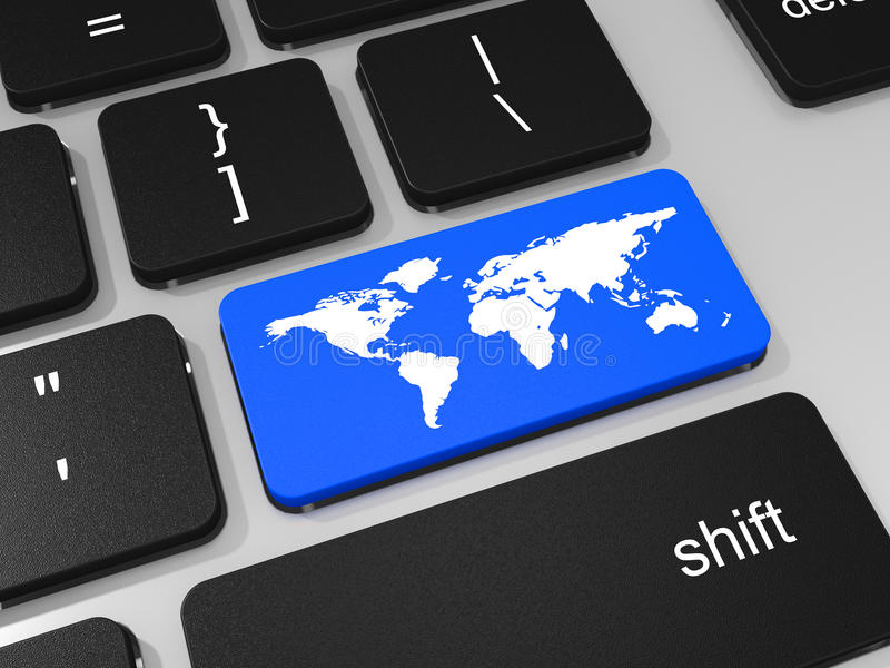 Κλειδί παγκόσμιων χαρτών στο πληκτρολόγιο του φορητού προσωπικού υπολογιστή ελεύθερη απεικόνιση δικαιώματος