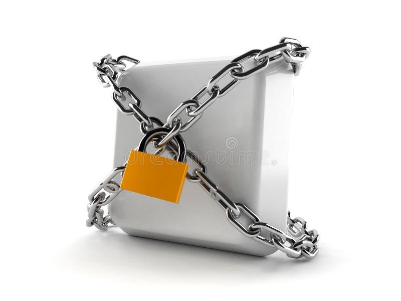 Κλειδί πληκτρολογίων με την αλυσίδα και το λουκέτο διανυσματική απεικόνιση