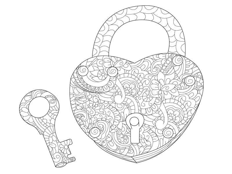 Κλειδαριά και βασικό χρωματίζοντας βιβλίο για το διάνυσμα ενηλίκων απεικόνιση αποθεμάτων