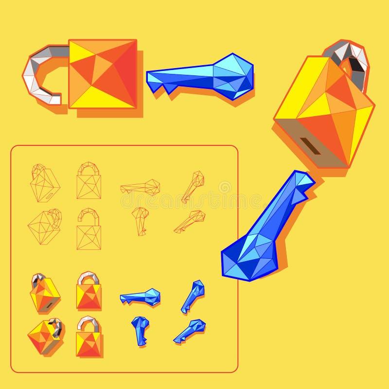 Κλειδαριά με γεωμετρικές διάφορες γωνίες τις βασικές διανυσματικές εικονιδίων στοκ εικόνες