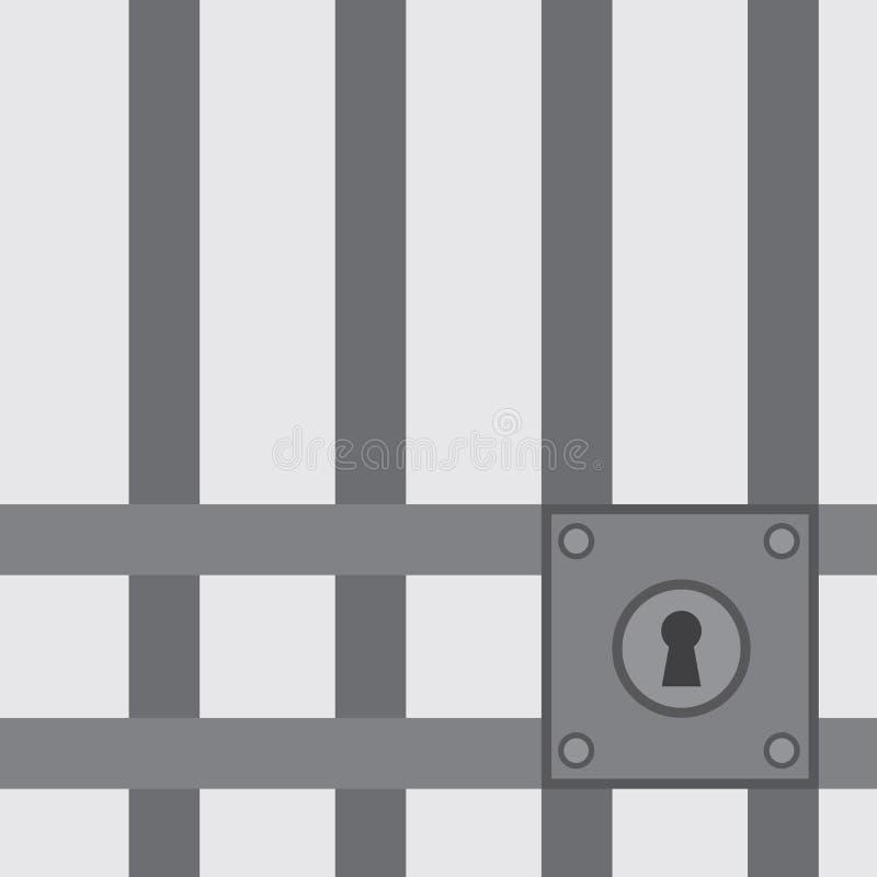 Κλειδαριά φραγμών φυλακών διανυσματική απεικόνιση