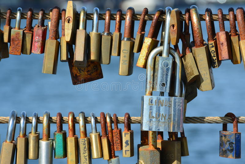 Κλειδαριές αγάπης της Κοπεγχάγης στοκ φωτογραφία