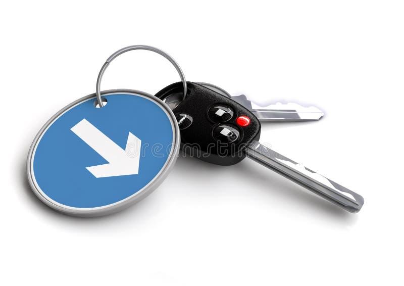 Κλειδιά αυτοκινήτων με το μπρελόκ: Βέλος σημαδιών κυκλοφορίας ελεύθερη απεικόνιση δικαιώματος