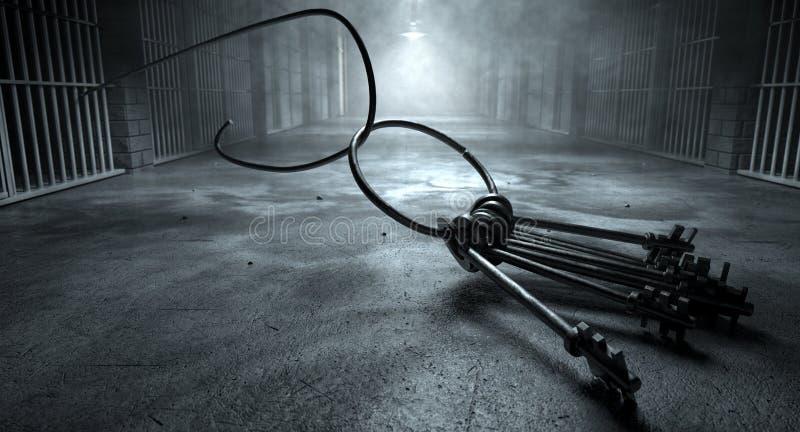 Κλειδιά και κελί φυλακής σπασιμάτων φυλακών στοκ φωτογραφία