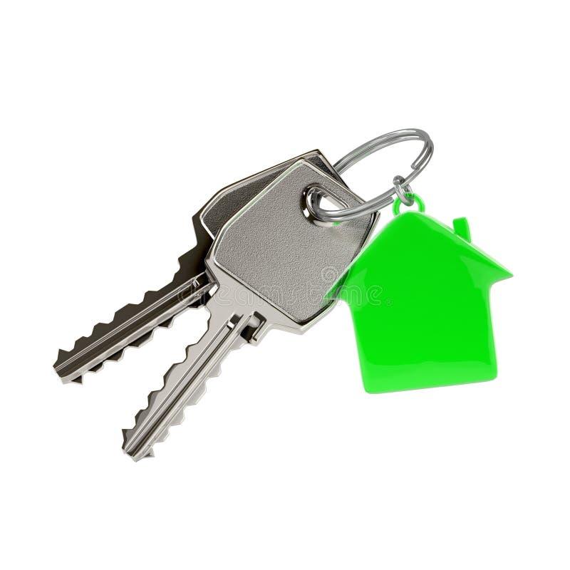 Κλειδιά με ένα κρεμαστό κόσμημα σπιτιών ελεύθερη απεικόνιση δικαιώματος