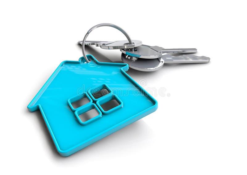 Κλειδιά σπιτιών με το μπρελόκ εγχώριων εικονιδίων Έννοια για την ιδιοκτησία ενός σπιτιού απεικόνιση αποθεμάτων
