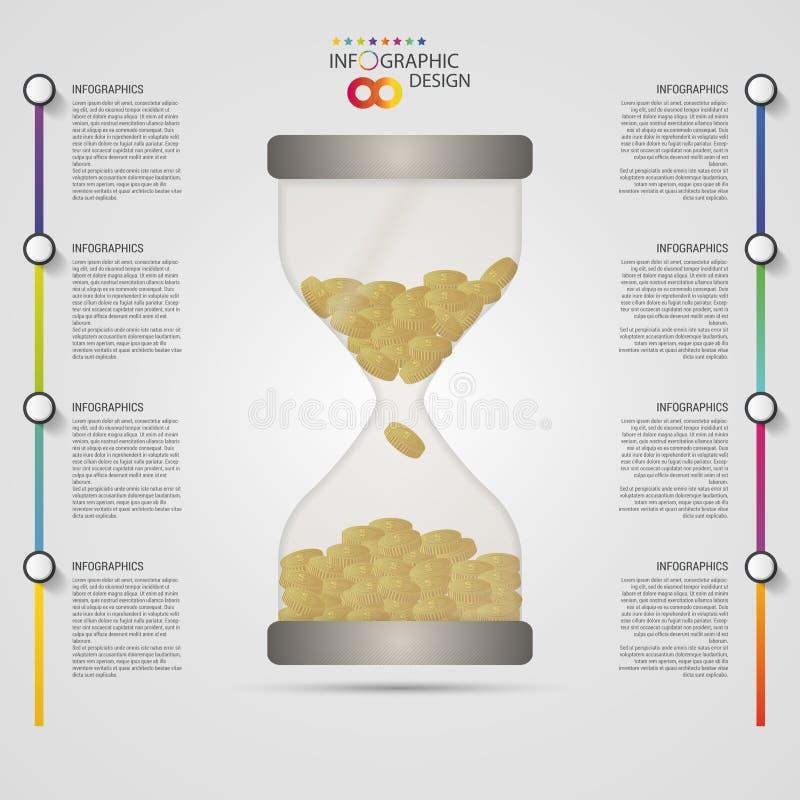 κλεψύδρα Πρότυπο σχεδίου Infographics επιχειρησιακή έννοια σύγχρονη επίσης corel σύρετε το διάνυσμα απεικόνισης απεικόνιση αποθεμάτων