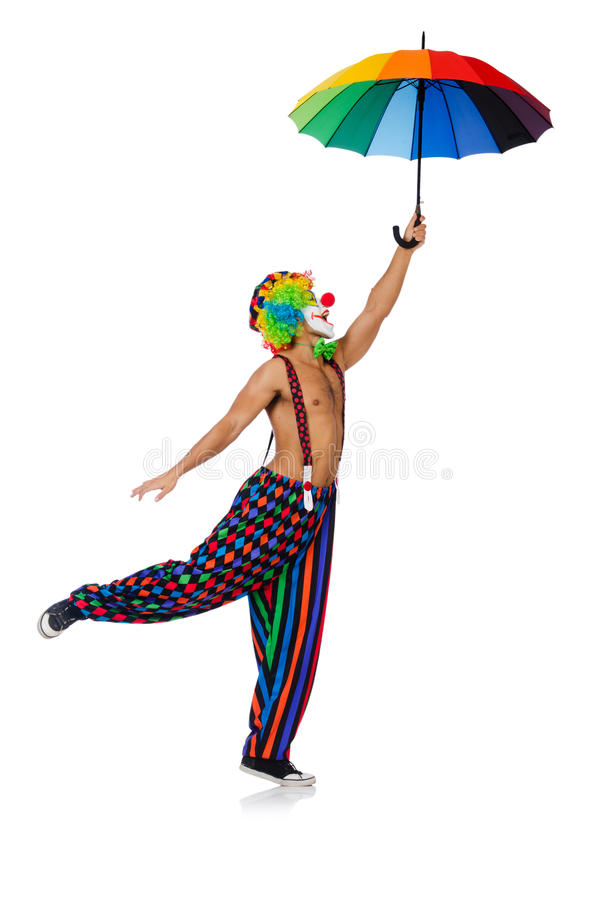 Κλόουν με την ομπρέλα στοκ φωτογραφία με δικαίωμα ελεύθερης χρήσης