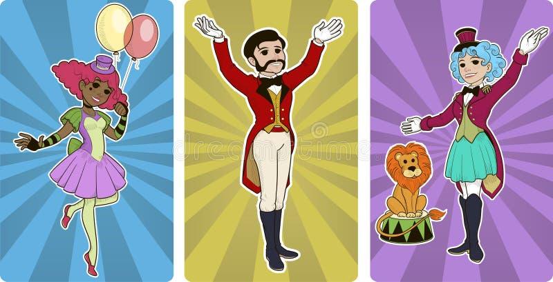 Κλόουν πιό ήμερος και χαρακτήρες τσίρκων διασκεδαστών διανυσματική απεικόνιση