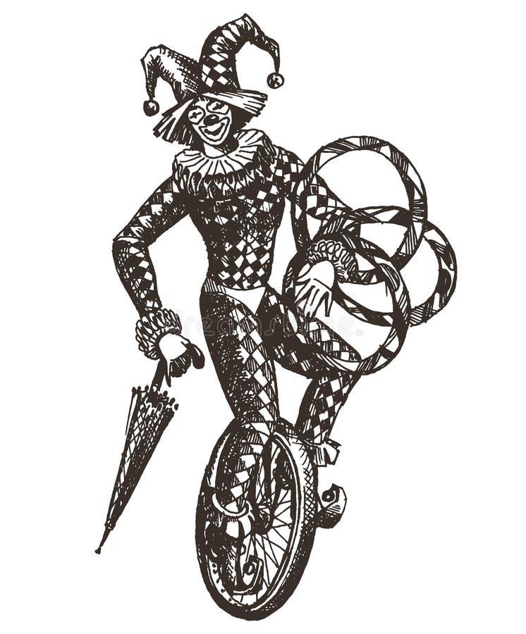 Κλόουν, τσίρκο, πλακατζής σε ένα άσπρο υπόβαθρο απεικόνιση αποθεμάτων