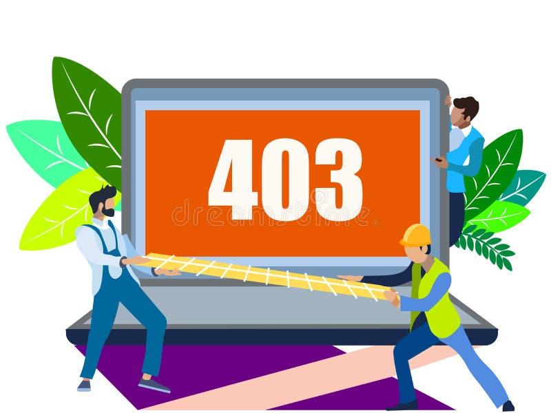 Λάθος 403 Στο μινιμαλιστικό ύφος Επίπεδη isometric απεικόνιση ράστερ απεικόνιση αποθεμάτων