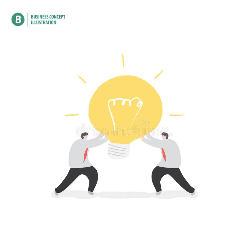 Λάμπα φωτός εκμετάλλευσης επιχειρηματιών που σημαίνει τη συνεργασία ή την ομαδική εργασία απεικόνιση αποθεμάτων