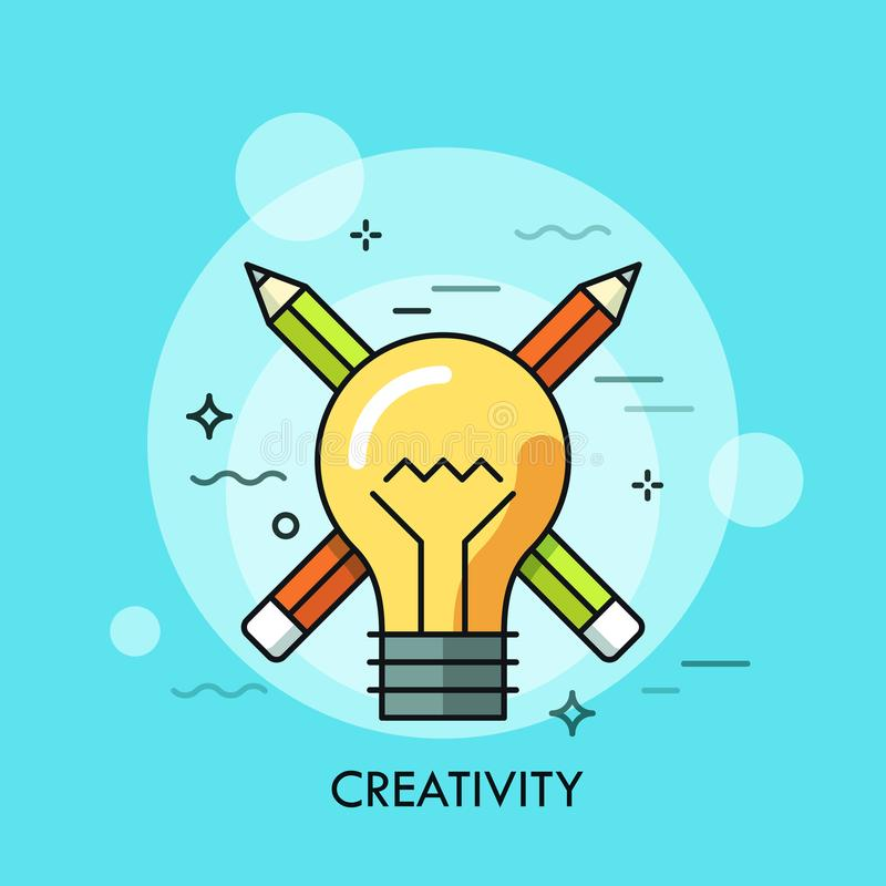 Λάμπα φωτός ενάντια στα διασχισμένα μολύβια στο υπόβαθρο Έννοια της δημιουργικότητας, δημιουργική σκέψη, αρχική παραγωγή ιδέας ελεύθερη απεικόνιση δικαιώματος