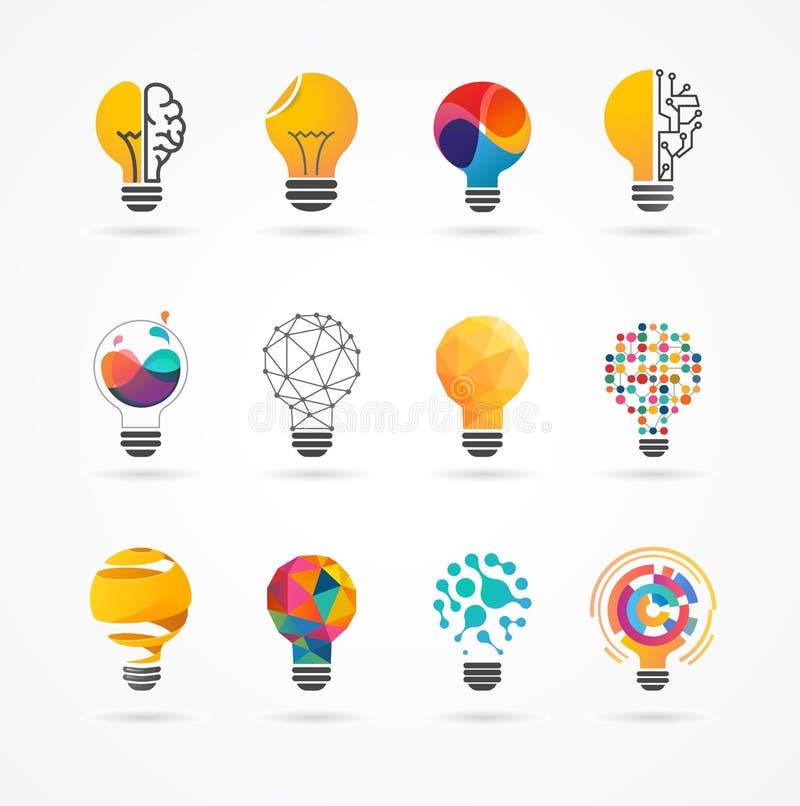 Λάμπα φωτός - ιδέα, δημιουργικός, εικονίδια τεχνολογίας ελεύθερη απεικόνιση δικαιώματος
