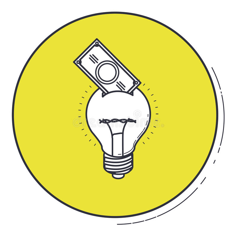 Λάμπα φωτός και λογαριασμός μέσα στο πράσινο σχέδιο κουμπιών ελεύθερη απεικόνιση δικαιώματος