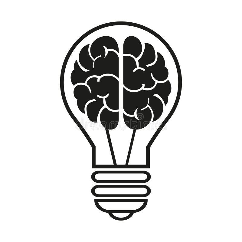 Λάμπα φωτός με ένα εικονίδιο εγκεφάλου Διανυσματική απεικόνιση EPS10 ελεύθερη απεικόνιση δικαιώματος