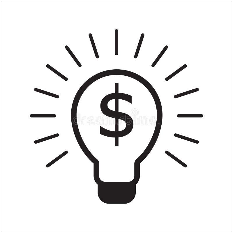 Λάμπα φωτός με την επιχειρησιακή έννοια συμβόλων δολαρίων ελεύθερη απεικόνιση δικαιώματος