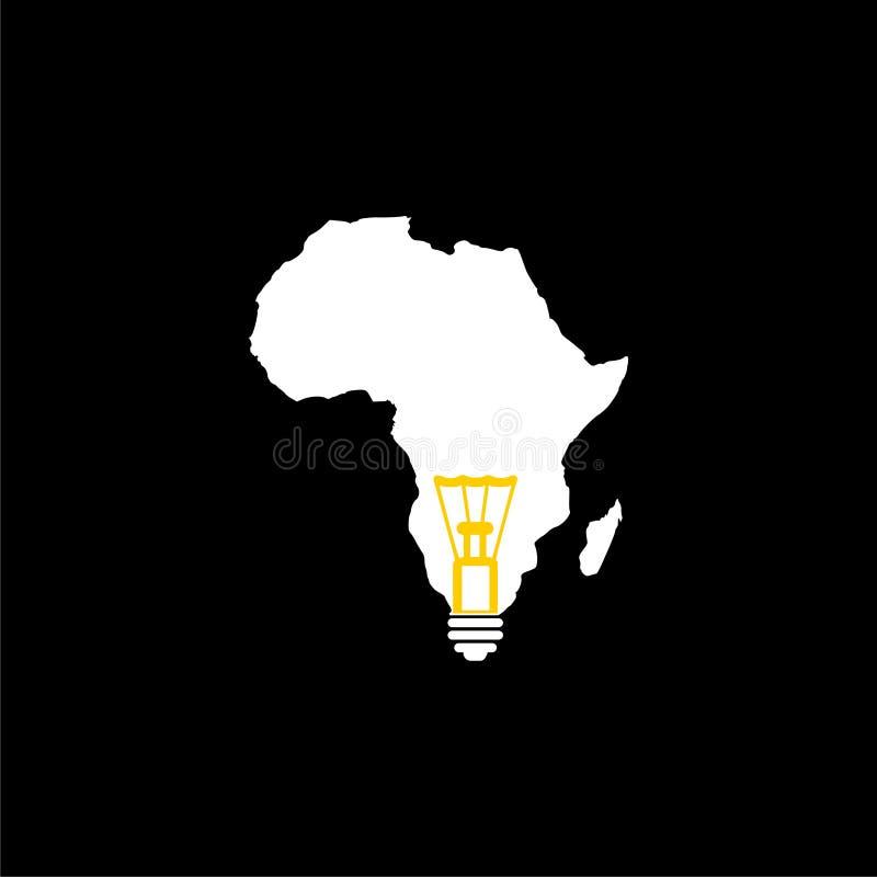 Λάμπα φωτός με το χάρτη Αφρική διανυσματική απεικόνιση