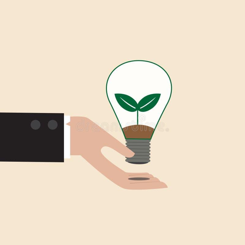 Λάμπα φωτός οικολογίας σε ετοιμότητα επιχειρηματιών ελεύθερη απεικόνιση δικαιώματος