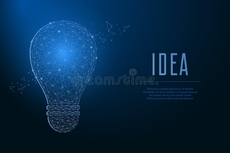 Λάμπα φωτός που γίνεται από τα σημεία και τις γραμμές, polygonal πλέγμα wireframe Έννοια της ιδέας με τον πυρακτωμένο λαμπτήρα χα απεικόνιση αποθεμάτων