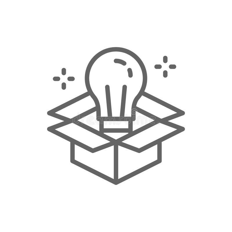Λάμπα φωτός στο κιβώτιο, καινοτομία, δημιουργικό εικονίδιο γραμμών ιδέας ελεύθερη απεικόνιση δικαιώματος