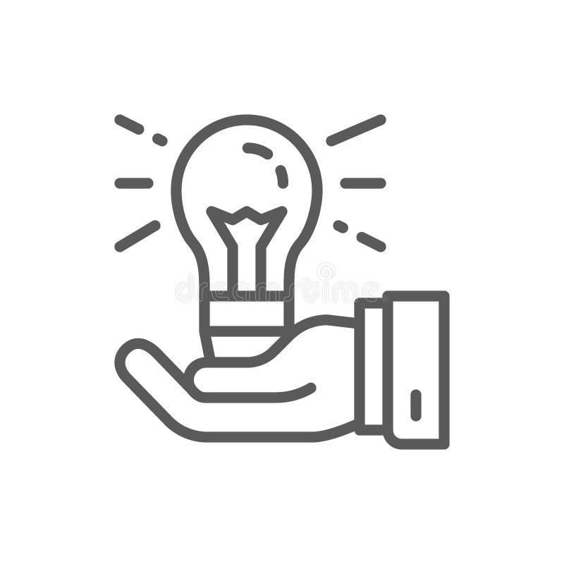 Λάμπα φωτός υπό εξέταση, παραγωγή ιδέας, δημιουργικό εικονίδιο γραμμών ελεύθερη απεικόνιση δικαιώματος