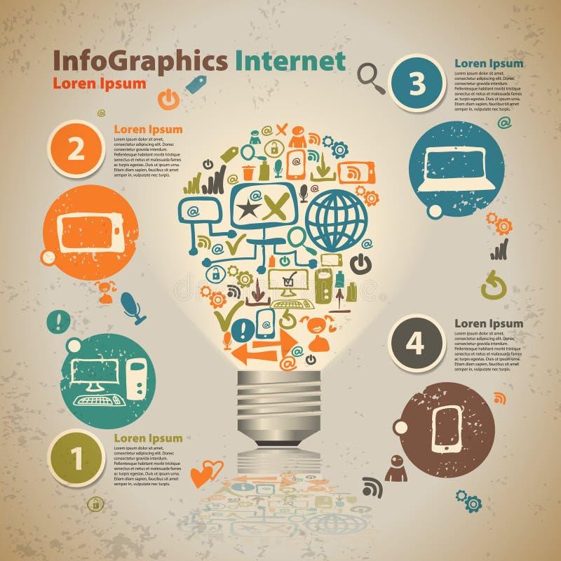 Λάμπα φωτός Infographics με το σύννεφο της εφαρμογής ελεύθερη απεικόνιση δικαιώματος