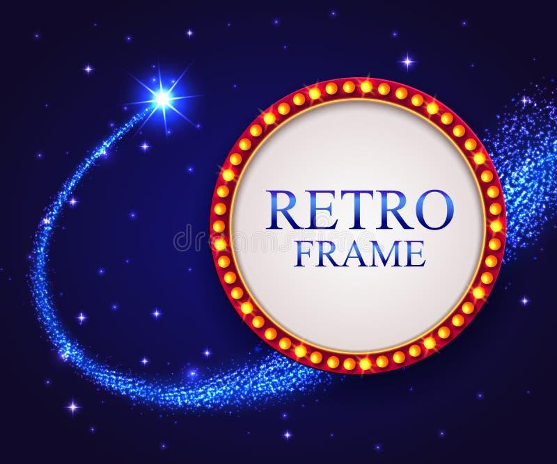 Λάμποντας αναδρομικό πλαίσιο με το μειωμένο αστέρι Μπλε νύχτας ελεύθερη απεικόνιση δικαιώματος