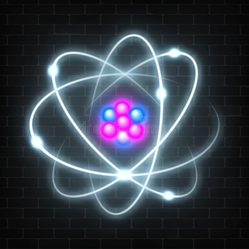 Λάμποντας πλανητικό πρότυπο νέου του πυρηνικού ατόμου Αφηρημένο σχέδιο πυράκτωσης μορίων ελεύθερη απεικόνιση δικαιώματος