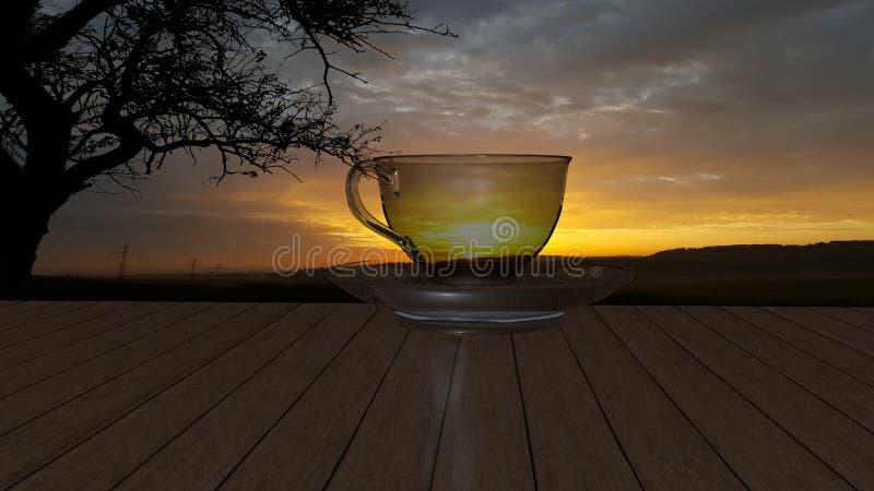Λάμποντας φλυτζάνι γυαλιού του καυτού αρωματικού τσαγιού που τοποθετείται πέρα από ένα διαφανές πιατάκι στοκ φωτογραφίες με δικαίωμα ελεύθερης χρήσης