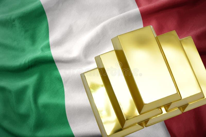Λάμποντας χρυσές ράβδοι στη σημαία της Ιταλίας διανυσματική απεικόνιση