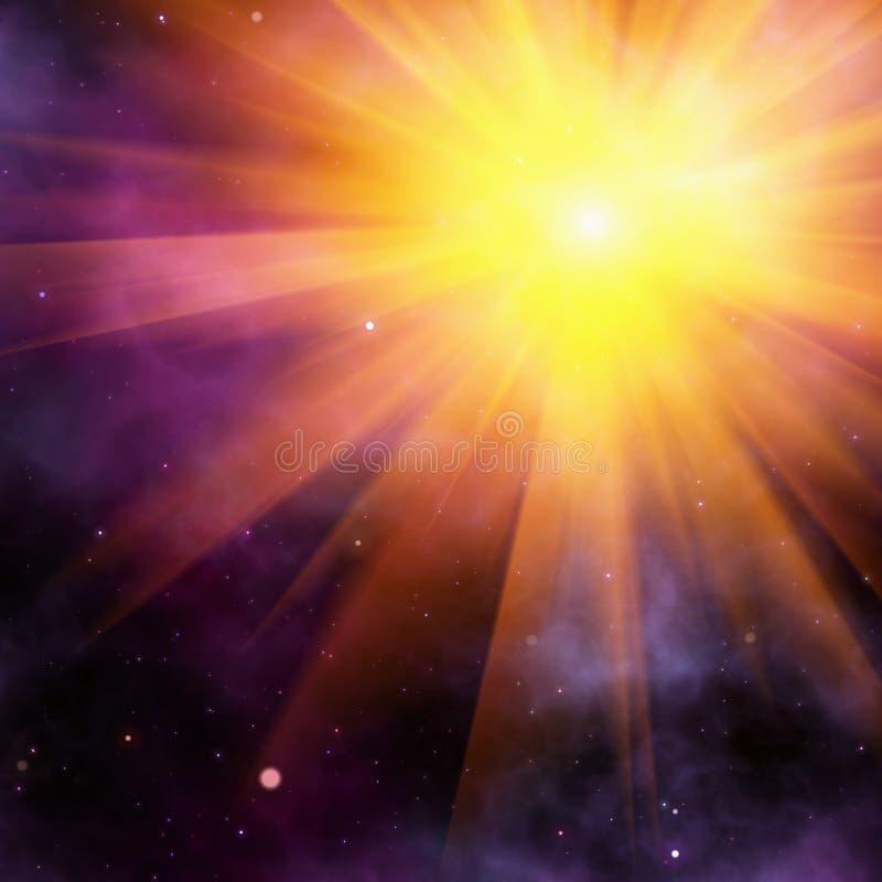Λάμψη ακτίνων ήλιων στο διαστημικό υπόβαθρο στοκ φωτογραφία με δικαίωμα ελεύθερης χρήσης