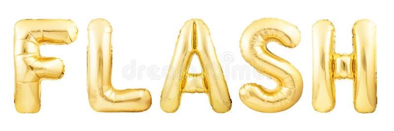 Λάμψη λέξης φιαγμένη από χρυσό διογκώσιμο μπαλόνι που απομονώνεται στο άσπρο υπόβαθρο στοκ φωτογραφία με δικαίωμα ελεύθερης χρήσης