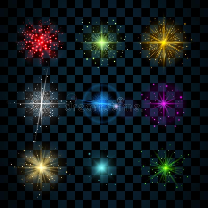 Λάμψτε ζωηρόχρωμα αστέρια ακτινοβολεί ελεύθερη απεικόνιση δικαιώματος