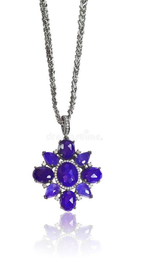 Λάπις λάζουλι λάπις λάζουλι και περιδέραιο διαμαντιών στοκ φωτογραφία
