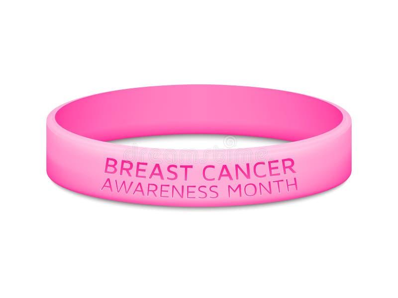 Λάστιχο μήνα συνειδητοποίησης καρκίνου του μαστού wristband διανυσματική απεικόνιση