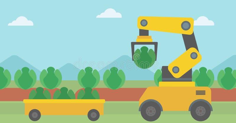 Λάχανο συγκομιδής ρομπότ στο γεωργικό τομέα ελεύθερη απεικόνιση δικαιώματος
