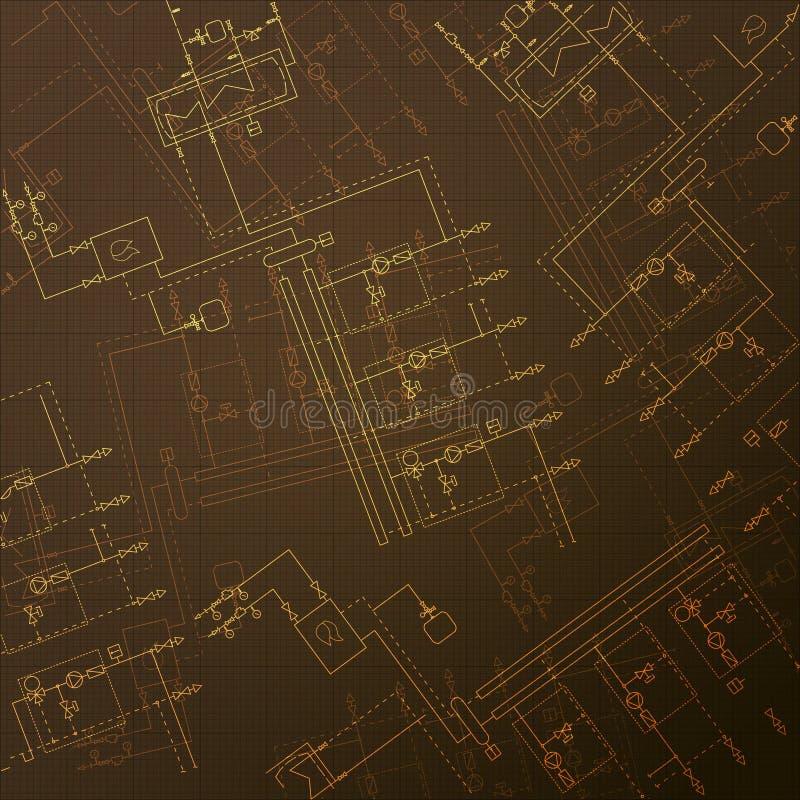 Λέβητας αερίου στο δωμάτιο Τεχνικό σχεδιάγραμμα HVAC Σχέδια εφαρμοσμένης μηχανικής κεντρικής θέρμανσης διανυσματική απεικόνιση