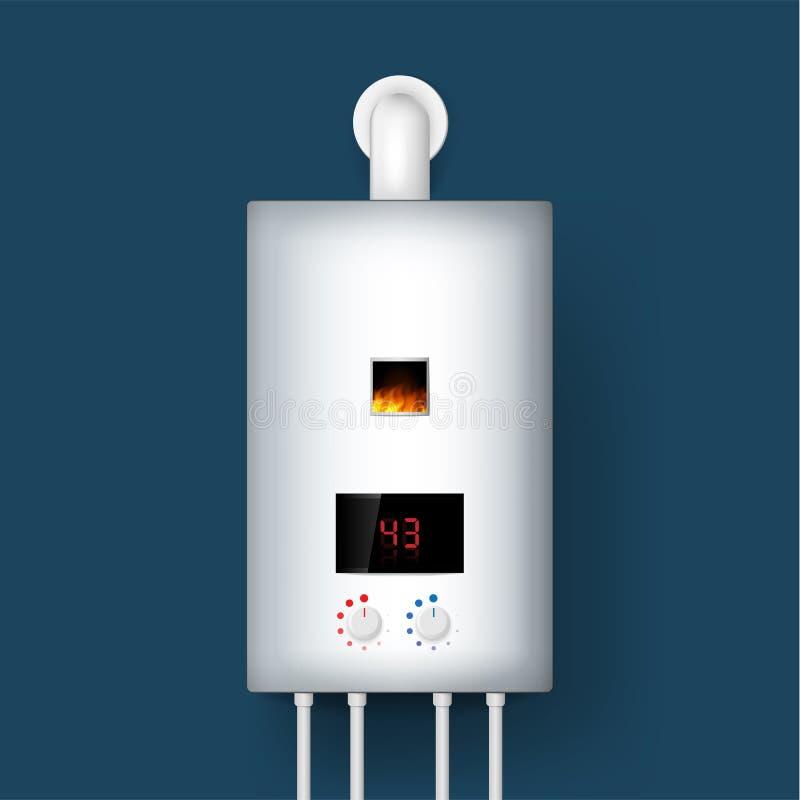 Λέβητας εγχώριου αερίου, θερμοσίφωνας τρισδιάστατη απόδοση Απομονωμένος στην ανασκόπηση επίσης corel σύρετε το διάνυσμα απεικόνισ διανυσματική απεικόνιση
