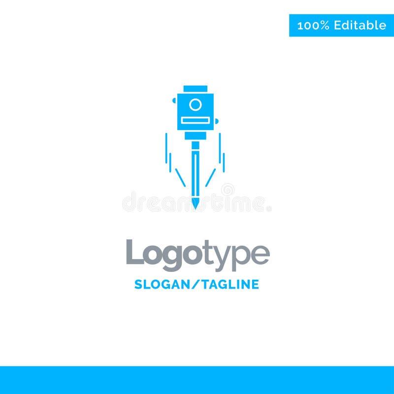 Λέιζερ, κτήριο, οικοδόμηση, επίπεδο, μπλε στερεό πρότυπο λογότυπων εργαλείων r διανυσματική απεικόνιση