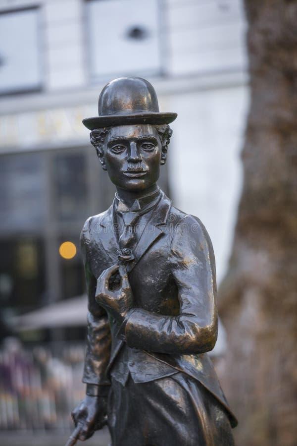 Λέιτσεστερ τακτοποιεί, Λονδίνο, μεγαλύτερο Λονδίνο, στις 7 Φεβρουαρίου 2019, άγαλμα του Sir Charles Chaplin στοκ φωτογραφία με δικαίωμα ελεύθερης χρήσης