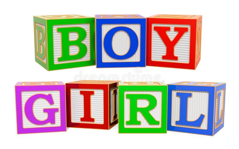 Λέξεις αγοριών και κοριτσιών από τους ξύλινους φραγμούς αλφάβητου ABC, τρισδιάστατη απόδοση ελεύθερη απεικόνιση δικαιώματος