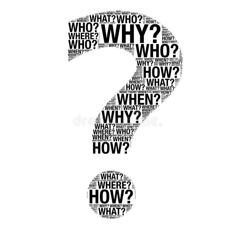 Λέξεις ερώτησης που σύρουν ως ερωτηματικό απεικόνιση αποθεμάτων