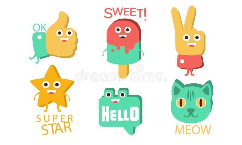 Λέξεις και χαριτωμένοι χαρακτήρες κινουμένων σχεδίων με αστεία πρόσωπα, Ok, Sweet, Βίκτορι, Superstar, Γεια, Meow Vector Illustra απεικόνιση αποθεμάτων