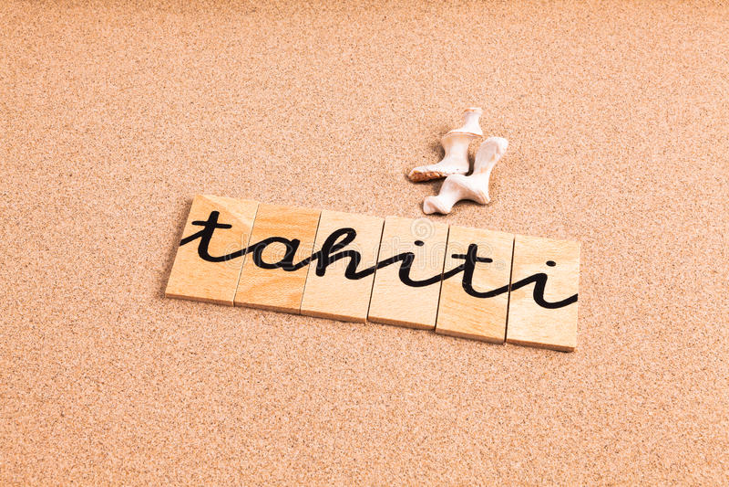 Λέξεις στην άμμο Ταϊτή στοκ εικόνες