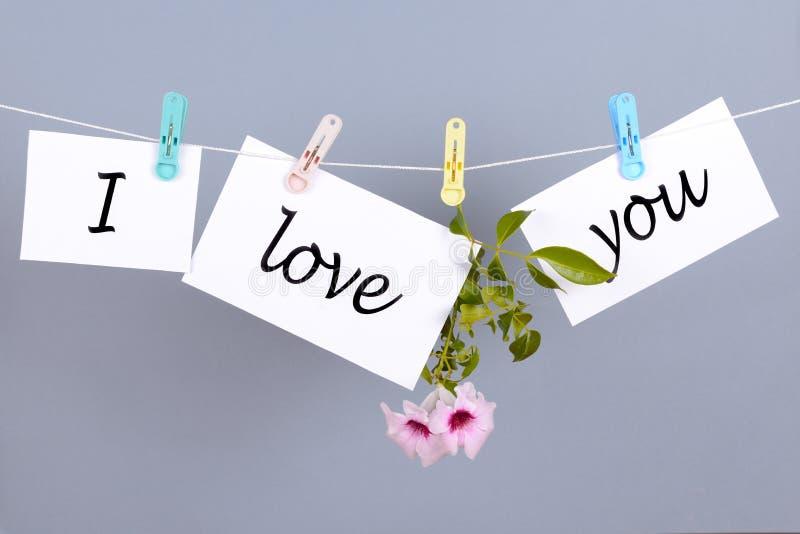 Λέξεις σ' αγαπώ στη Λευκή Βίβλο και ένωση στο σκοινί στοκ φωτογραφίες με δικαίωμα ελεύθερης χρήσης