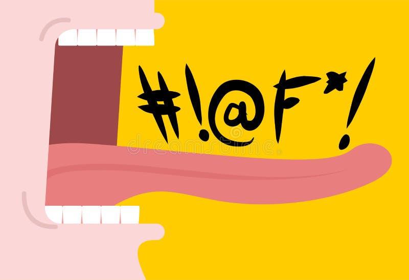 Λέξεις όρκισης κραυγής Ανοικτό στόμα κραυγής Δόντια και γλώσσα το αποκρουστικό τοπικό LAN απεικόνιση αποθεμάτων